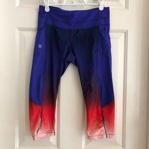 Athleta Capri Ombré Leggings, Blue/Red xsmall
